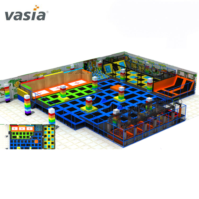 Customized Manufacturer Adults And Kids Large Indoor Amusement Trampoline Park With Inflatable Football Games