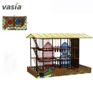 Funcational Challenging Indoor Rope Climbing Sky Play Equipment Obstacle Course
